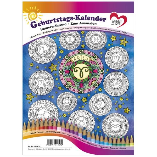 Geburtstags-Kalender zum Ausmalen, immerwährend, DIN A4