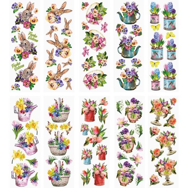 Transparent-Stickerbogen, Ostergrüße 2, verschiedene Designs, 10cm x 30cm, 10 Bogen