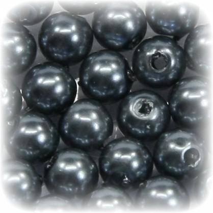 Perlen, rund, Ø6 mm, anthrazit, 50 Stück
