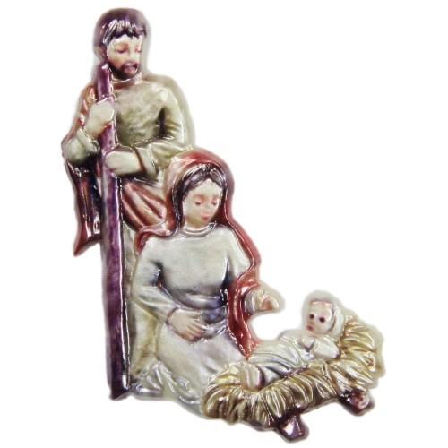 Wachsornament, Heilige Familie 3, farbig, geprägt, 7,5x6,5cm