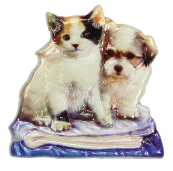 Wachsornament Hund & Katze 8, farbig, geprägt, 7,5 x 7,5 cm