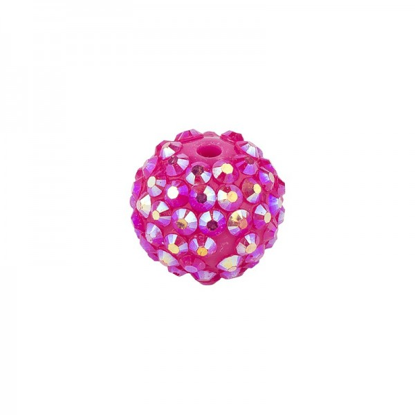Kristall-Perlen, Ø14 mm, 10 Stück, fuchsia-irisierend