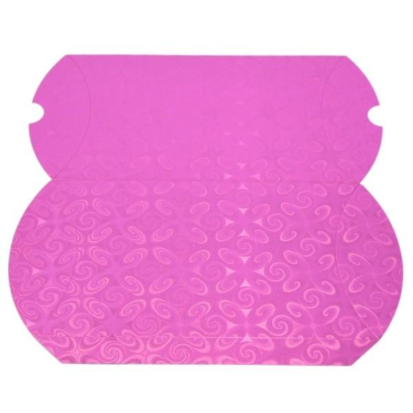 Geschenkbox, Kissen-Form, 22x13x4,5cm, folienkaschiert, pink