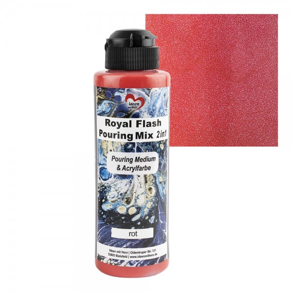 Royal Flash Pouring Mix, 2 in 1, Pouring Medium & Acrylfarbe, rot, 180ml
