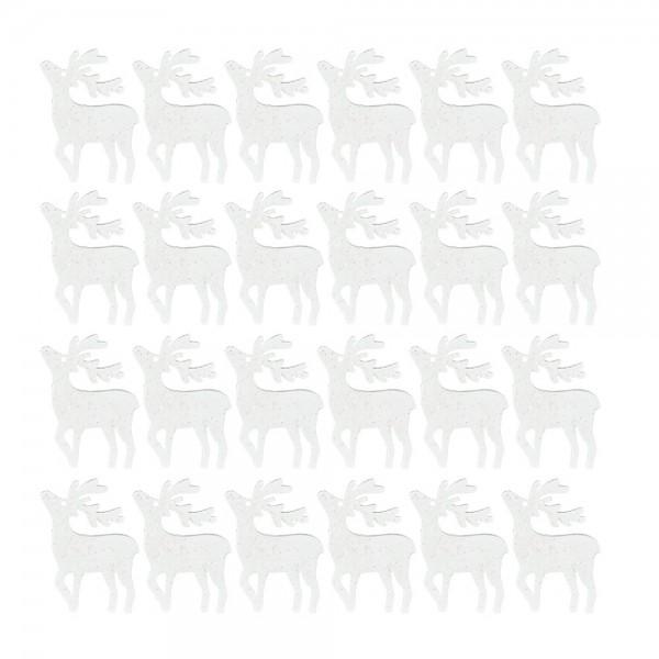 Streudeko, Hirsche, 3cm x 4cm, 2mm stark, weiß mit irisierendem Glitzer, 24 Stück