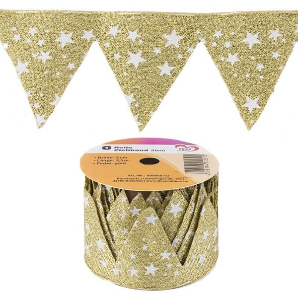 """Ziehband """"Stern"""", 5cm breit, 2,5m lang, gold"""