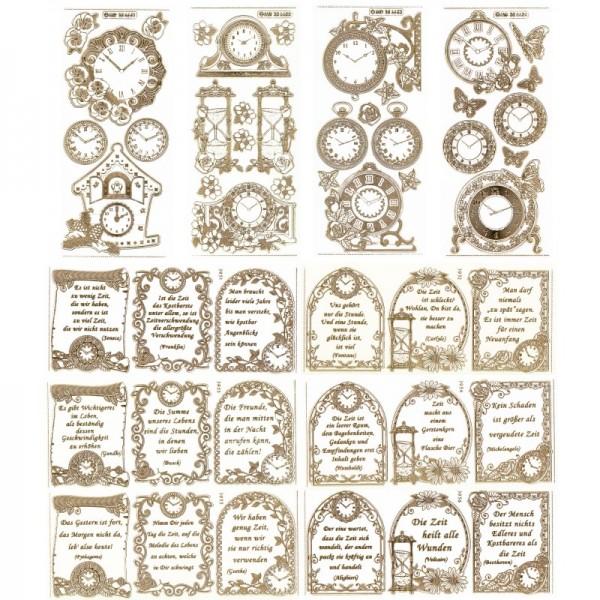 Gravur-Sticker, Zeitsprüche und Uhrenmotive, 10 Bogen