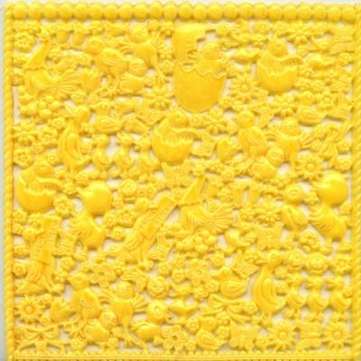 Wachsornament-Platte Küken, 16cm x 16cm, gelb