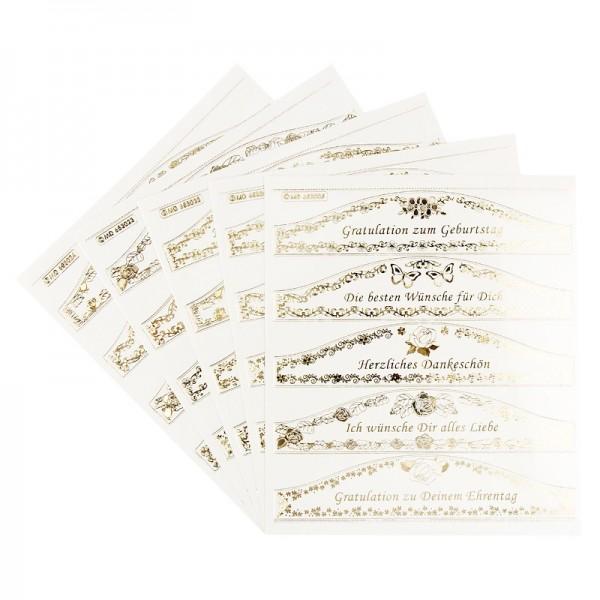Gravur Sticker XXL, 25 Gruß-Banderolen Danksagungen & Glückwünsche, 5 Bogen