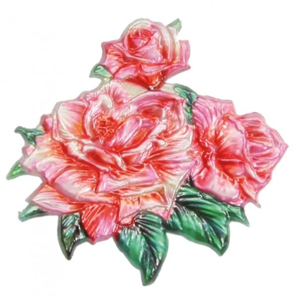 Wachsornament  3 Rosen, farbig, geprägt