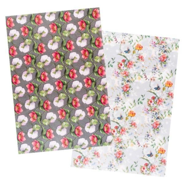 Reispapiere, Blüten 14, DIN A4, 30g/m², 2 verschiedene Designs