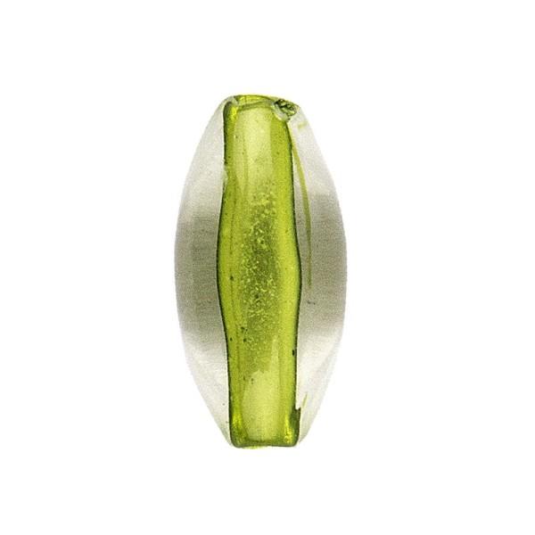 DuoColor-Perlen, oval, 12mm, hellgrün/klar, 20 Stück