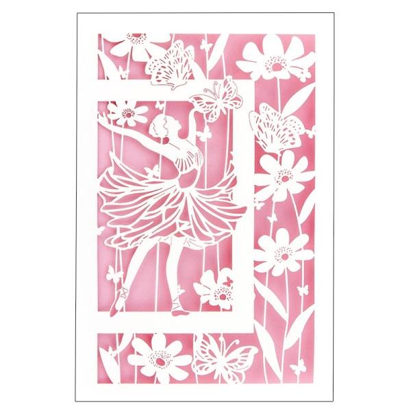 """Laser-Grußkarte """"Tanzendes Mädchen"""", 12x18cm, mit Umschlag & rosa Einleger"""