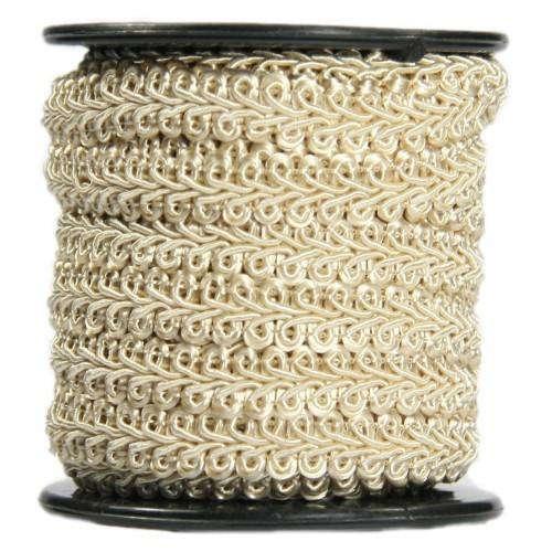Bordürenband, Stoff, edle Schlaufen, 9mm x 10m, beige