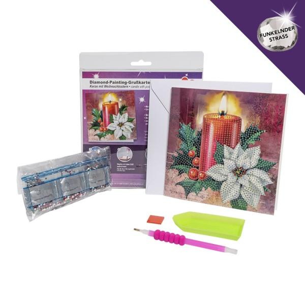 Diamond-Painting-Grußkarte, Strass, Kerze & Weihnachtsstern, 16cm x 16cm, inkl. Umschlag & Werkzeug