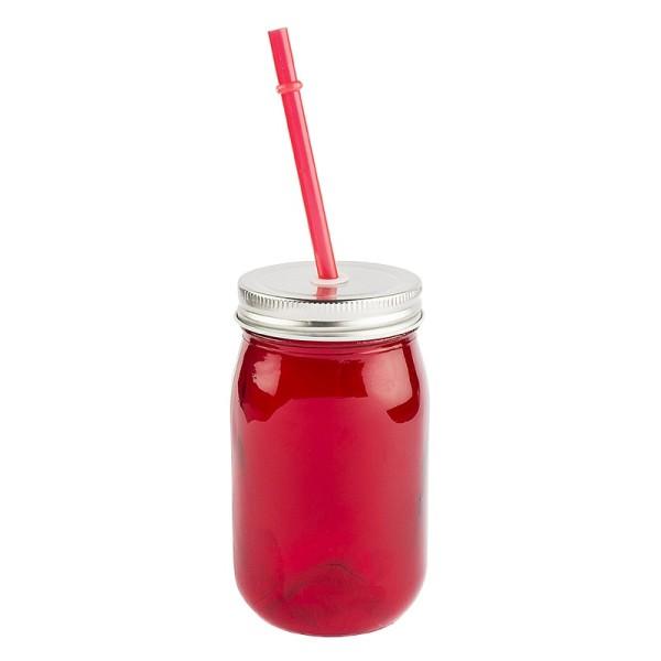 Trinkglas mit Deckel und Trinkhalm, 7,5cm x13cm x7,5cm, rot