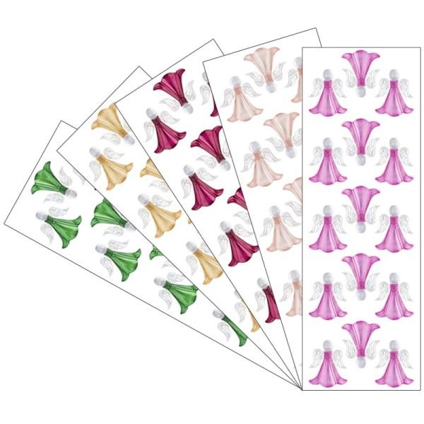 Kristallkunst, Engel, 10cm x 30cm, selbstklebend, verschiedene Farben, 5 Stück