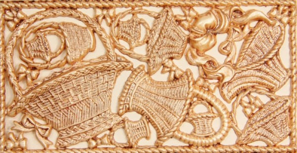 Wachsornament-Platte Körbe, 16 x 8 cm, braun patiniert