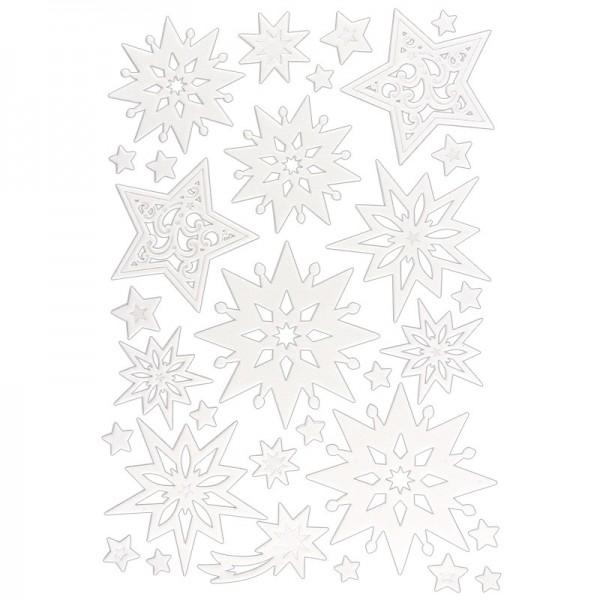3-D Sticker, Deluxe Sterne, verschiedene Größen, selbstklebend, weiß