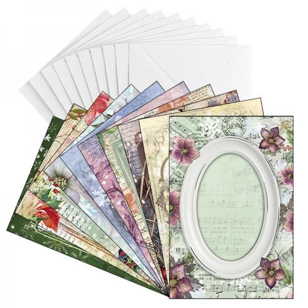 Grußkarten, Rahmen, Winter/Weihnachten, B6, 250g/m², 10 versch. Designs, inkl. Umschläge, 10 Stück