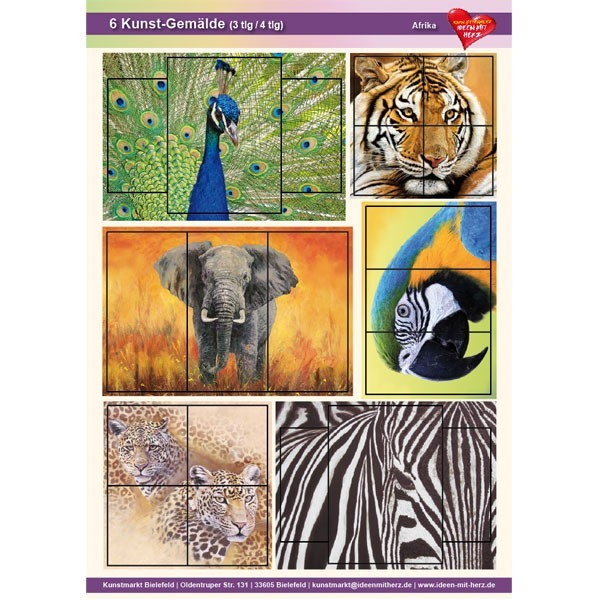 Kunst-Gemälde, A4 Bogen, 6 Stück, 3-/4-tlg, Afrika