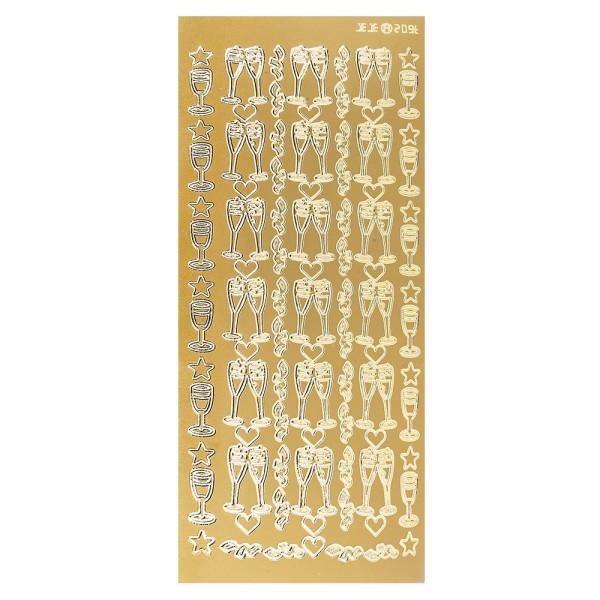 Sticker, Sektgläser, gold