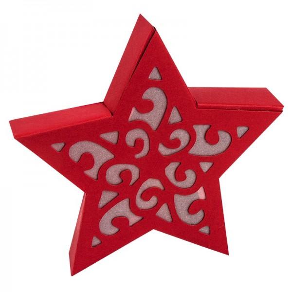 Stern Melanie, 10,5 cm Ø, Stanzformen, rot/weiß, 5er Set