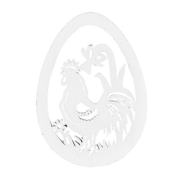 Hähne im Ei, Holz, 12,3cm x 8,8cm x 0,5cm, weiß, 6 Stück