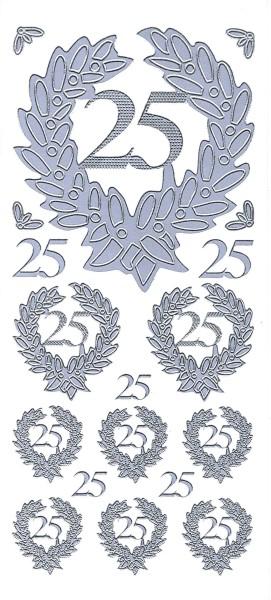 Sticker, Zahlen fürs Jubiläum 25, silber
