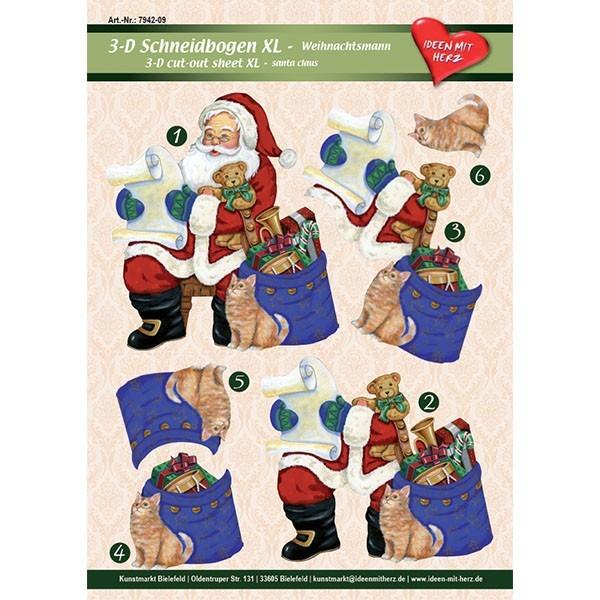 3-D Bogen XL-Weihnachtsmann, zum Ausschneiden