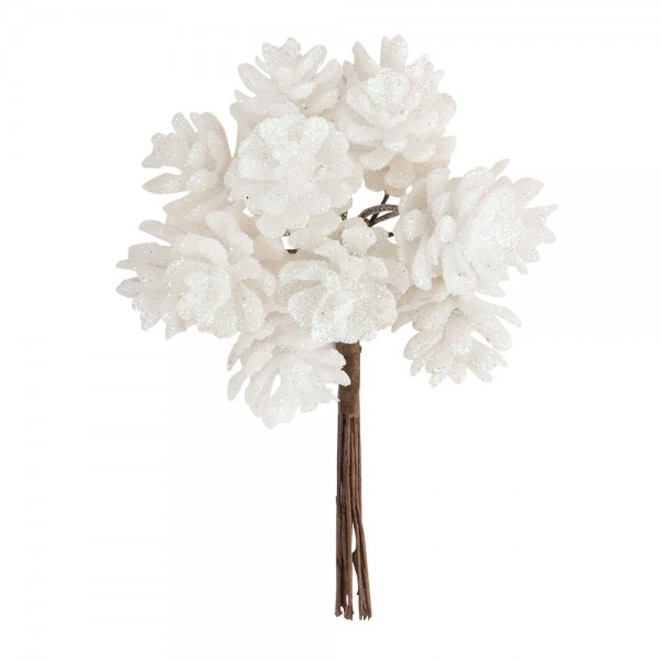 Deko-Zweige, Tannenzapfen, 10cm lang, am Draht, irisierender Glimmer, 12 Stück