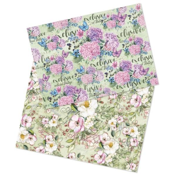 Reispapiere, Blüten 4, DIN A4, 2 Designs