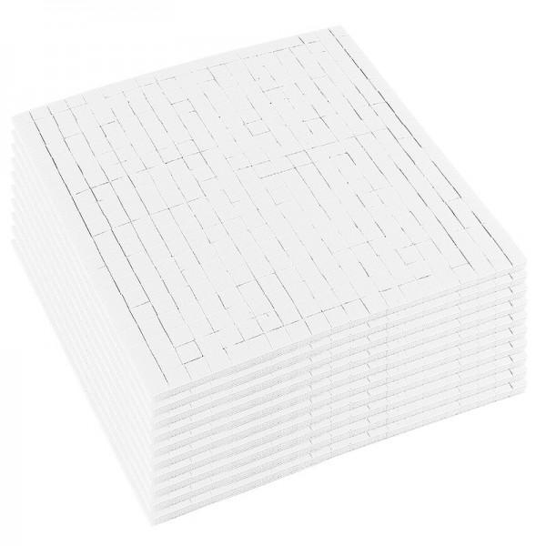Klebepads, 5mm x 5mm, 3mm hoch, weiß, 10 Bogen