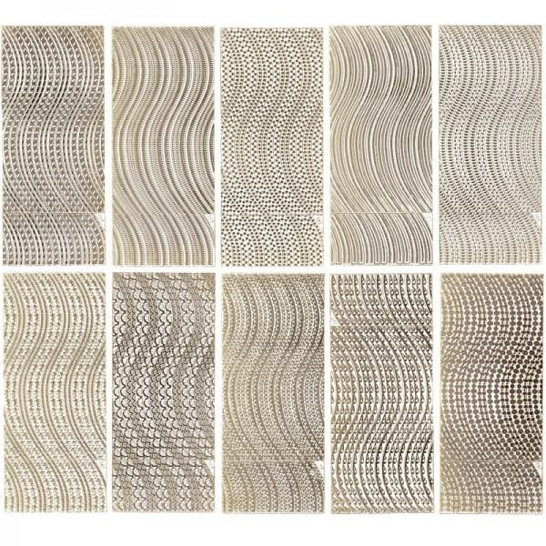 Gravur-Sticker, Schwunglinien, 10 Bogen