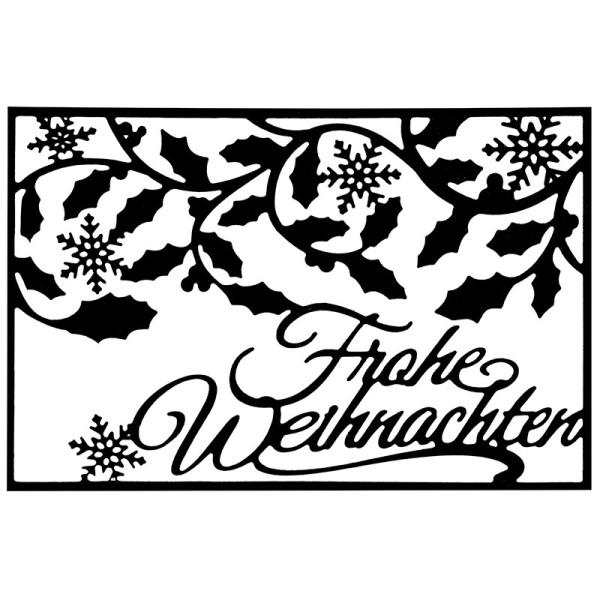 Stanzschablone, Frohe Weihnachten, 9,4cm x 14,4cm, passend für gängige Stanzmaschinen
