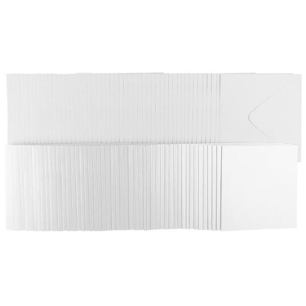 Grußkarten, Perlmutt, weiß, 16cm x 16cm, inkl. weißer Umschläge, 50 Stück