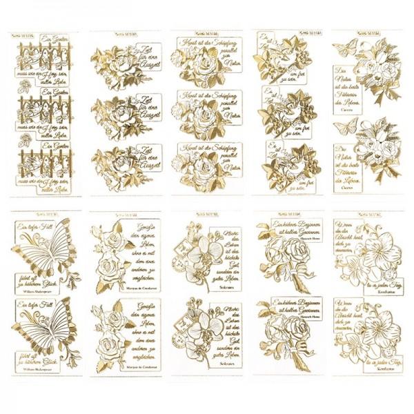 Gravur-Sticker, Blumen & Texte, transparent/gold, 10 Bogen