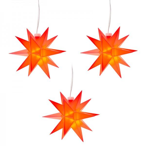 3-D LED-Sterne, Ø 12cm, warmweiß, mit Timer, rot, 3 Stück