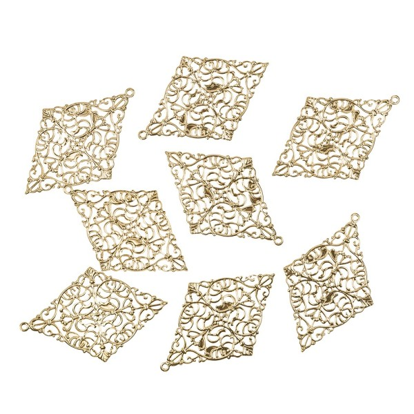 Metall-Ornamente, Design 10, 7,8cm x 5cm, hellgold, 8 Stück