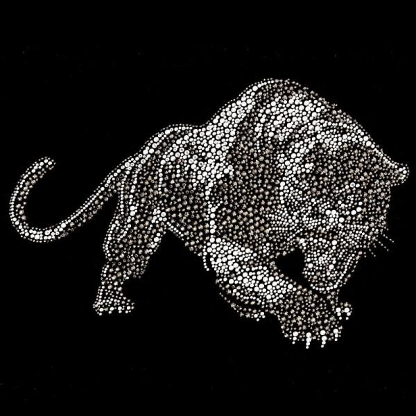 Bügelstrass-Design, DIN A4, mehrfarbig, Panther