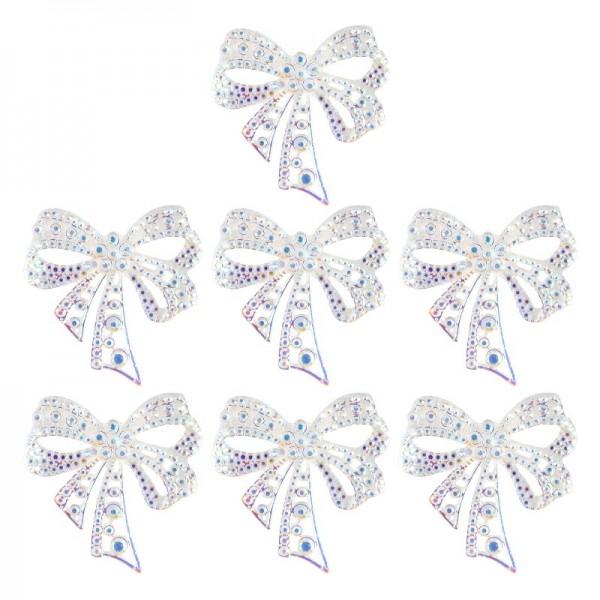 Kristallkunst-Schmucksteine, Schleife, 4,5cm x 4,5cm, transparent, klar, irisierend, 7 Stück
