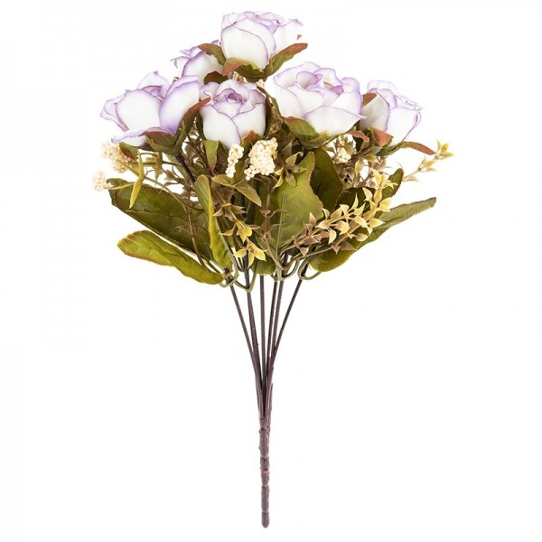 Blütenbusch, Rosen 4, 30cm hoch, 7 große Blüten, Ø 3cm, weiß/flieder