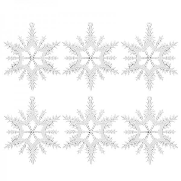 Winter-Deko, Rohling, Eiskristall 4, Ø 13cm, weiß, 6 Stück