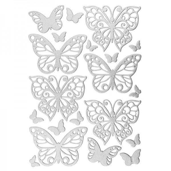 3-D Sticker, Deluxe Schmetterlinge, selbstklebend, silber