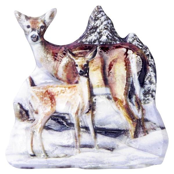 Wachsornament Tiere im Winter 1, farbig, geprägt, 7cm