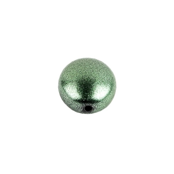 Perlen, oval, flach, 1,9cm x 1,6cm x 1cm, metallic-grün, 20 Stück
