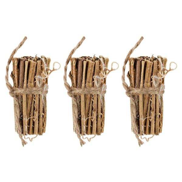 Wald-Deko, 3 Bündel aus Ästen, Ø 3,5cm bis 4cm, ca. 8cm lang