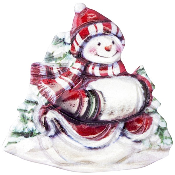 Wachsornament Fröhl. Schneemänner 8, farbig, geprägt, 7cm