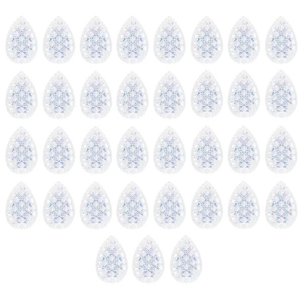 Kristallkunst-Schmucksteine, Tropfen, 3cm x 2cm, klar irisierend, 35 Stück
