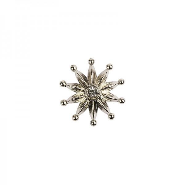 Premium Schmucksteine, Zierblüte 1, Ø 3,1 cm, mit Glas-Kristallen, silber, 50 Stück